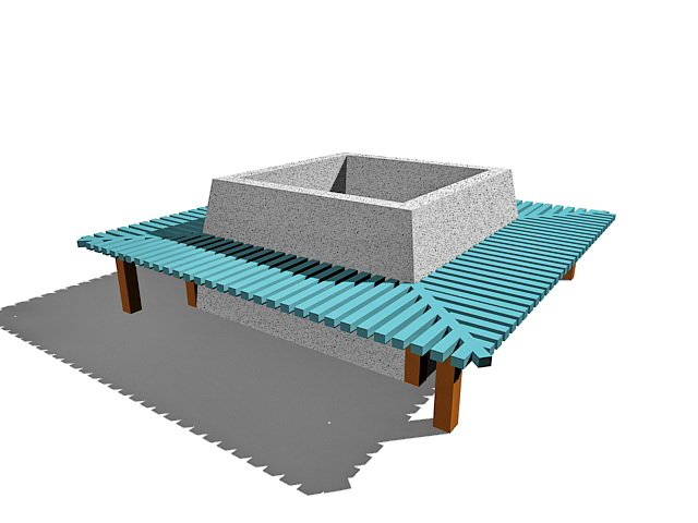 Square Bench With Planter Box 3d Model 3ds Max Files Free