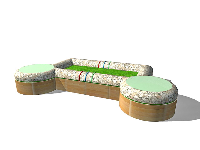 Planters With Bench Seating 3d Model 3ds Max Files Free