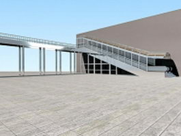 Pedestrian skyway bridge with escalator 3d model