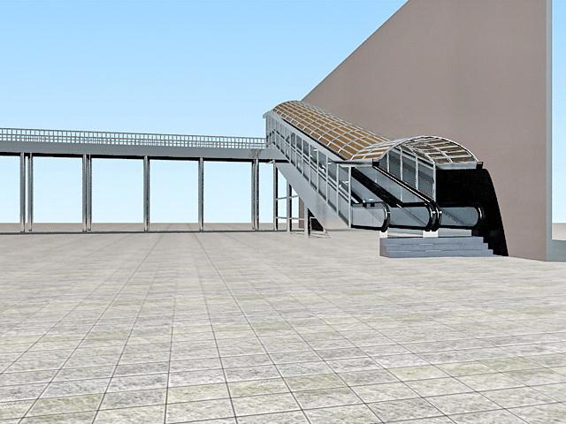 Pedestrian Skyway Bridge With Escalator 3d Model 3ds Max
