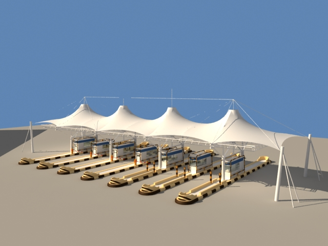 Toll collection area with tensile canopies 3d model & Toll collection area with tensile canopies 3d model 3ds max files ...