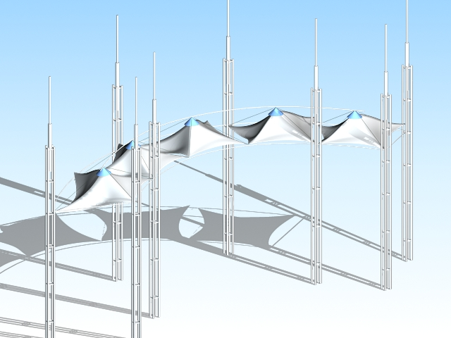 Entrance gate tensile canopy 3d model 3ds max files free