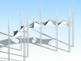 Entrance gate tensile canopy 3d model
