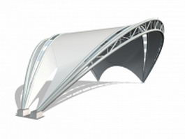 Arched tensile shade structure 3d model