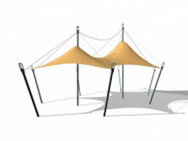 Tension fabric shade structures 3d model