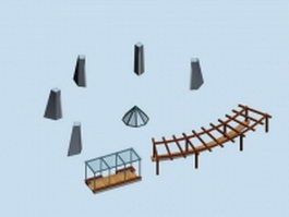 Outdoor pergola shade landscape structure 3d model