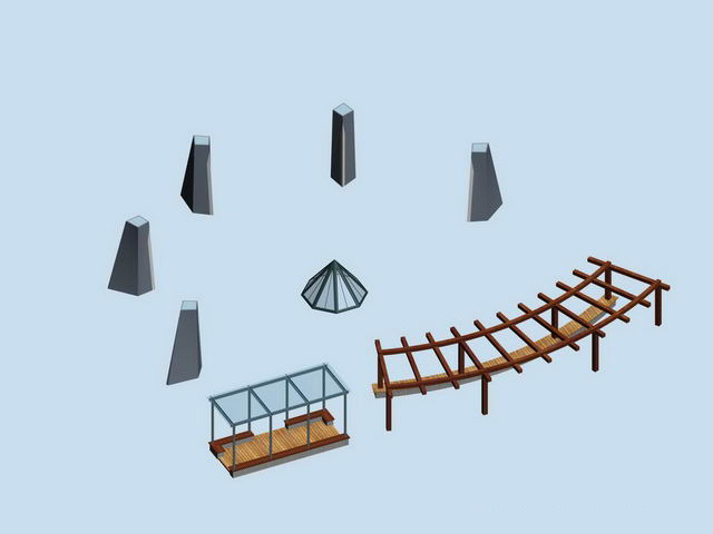 Outdoor pergola shade landscape structure 3d model
