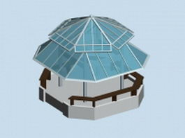 Glass roof gazebo 3d model