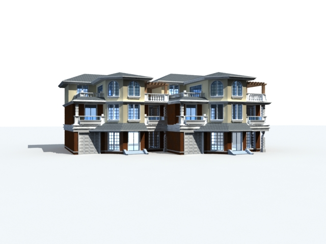 Row house design 3d model 3ds max files free download - modeling ...