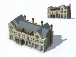 Three story villa building 3d model