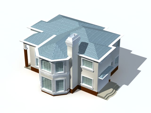 Modern two storey house 3d model 3ds max files free Home 3d model