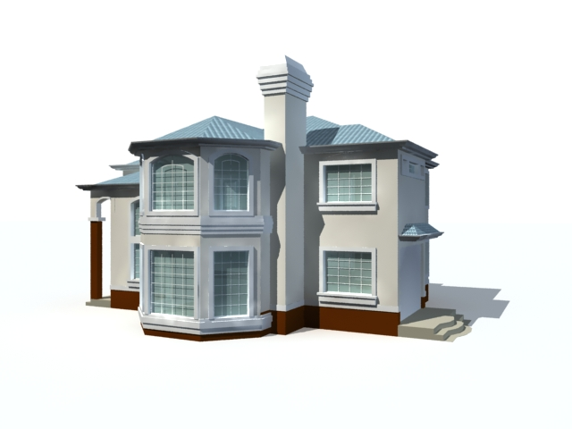 Modern two storey house 3d model 3ds max files free for Free 3d house models