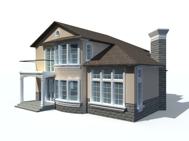 Ranch style house 3d model 3ds max files free download House 3d model