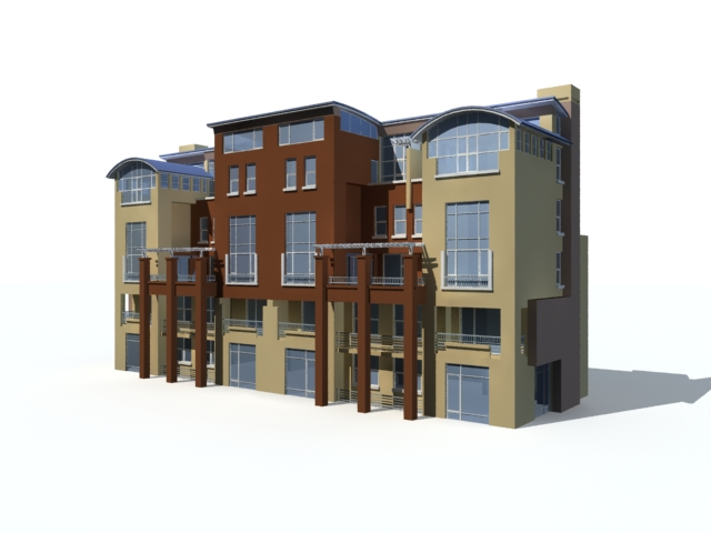 Modern townhouse exterior 3d model 3ds max files free - 3ds max models free download exterior ...