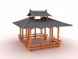 Asian pavilion building 3d model