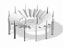 Modern silver pergola 3d model