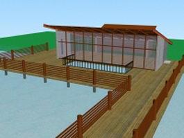 Lakeside pavilion architecture 3d model