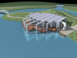 Seaside villa with deck 3d model