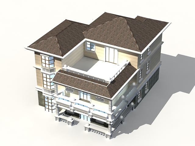 Ordinaire 3 Storey House 3D Model