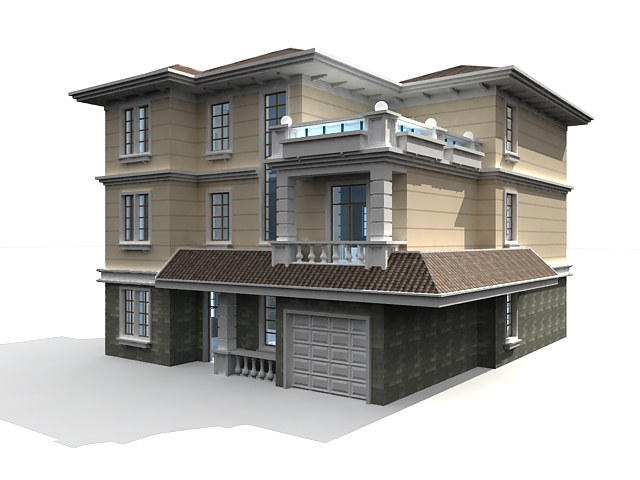 3 Storey house 3d model 3ds max files free download - modeling 33313