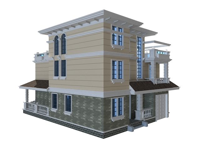 Superb Modern Chinese House 3D Model