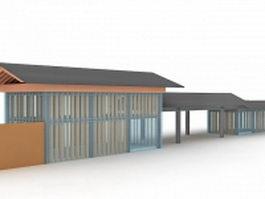 Glass park shelter 3d model