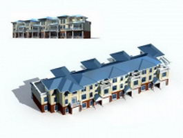 Townhome row houses 3d model