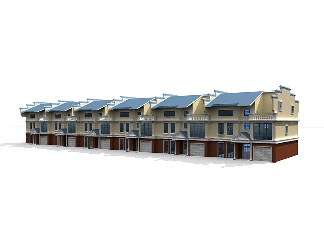 Townhome Row Houses 3d Model 3ds Max Files Free Download