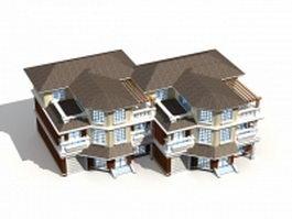 Terraced houses building 3d model