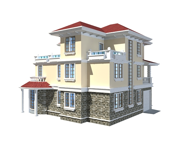 three floor home design 3d model - Download Home Design 3d