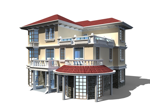 Three floor home design 3d model 3ds max files free for Home 3d model