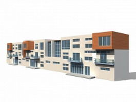 Modern townhouse building 3d model