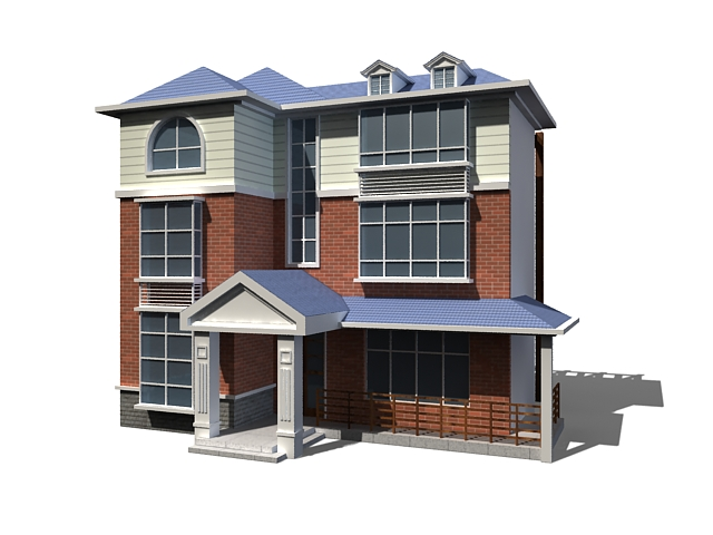 Various house type buildings 3d model 3ds max files free for Types of homes to build