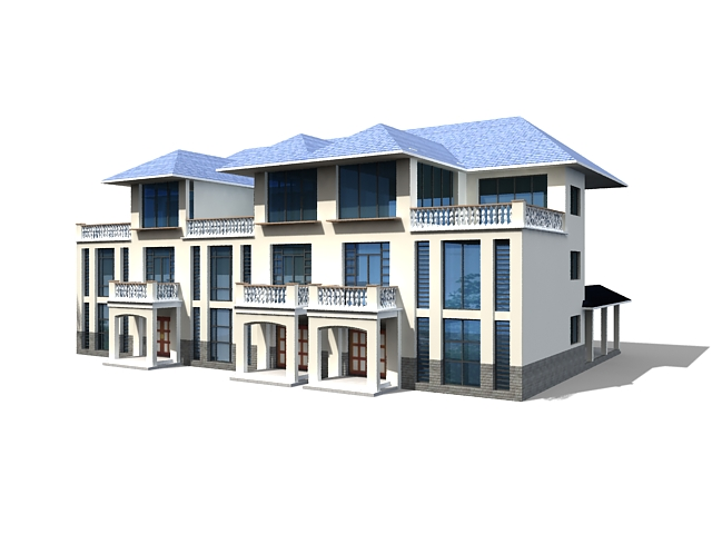 Row Houses Building 3d Model 3ds Max Files Free Download