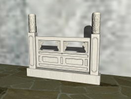 Stone carving railing 3d model