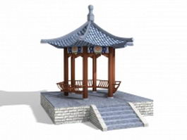 Chinese garden pavilion hexagonal 3d model