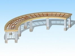 Park pergola structures 3d model
