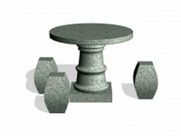 Granite outdoor table and stool 3d model