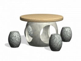 Outdoor stone furniture 3d model
