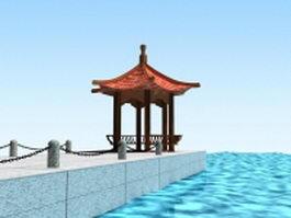 Pier with gazebo 3d model