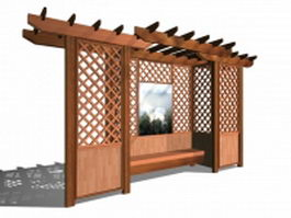 Garden trellis with bench 3d model