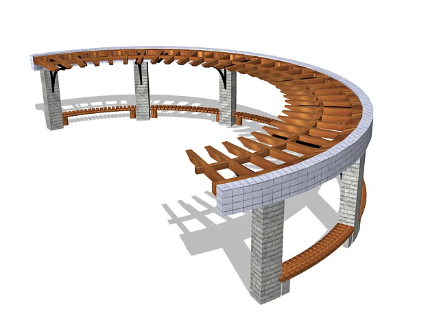 Semi circular pergola 3d model 3ds max files free download for Garden design in 3ds max