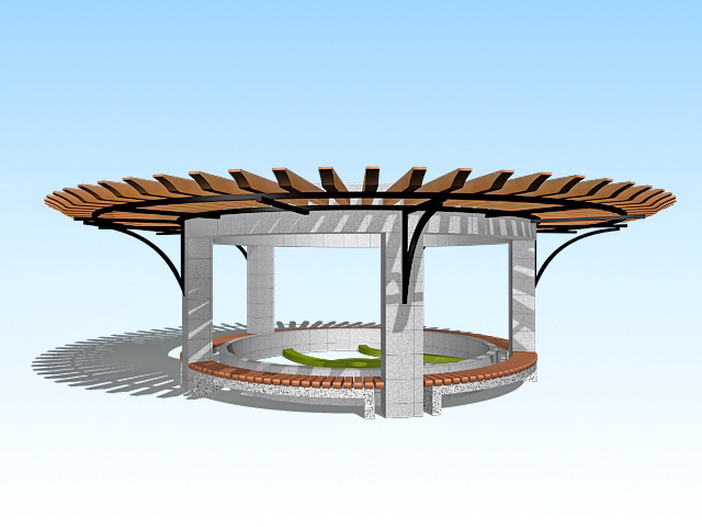 Round garden pergola 3d model 3ds max files free download for Garden design in 3ds max