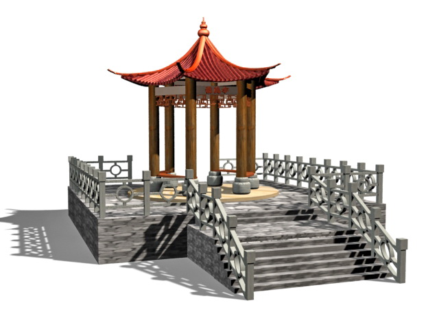 Chinese garden gazebo 3d model 3ds max files free download for Garden design in 3ds max