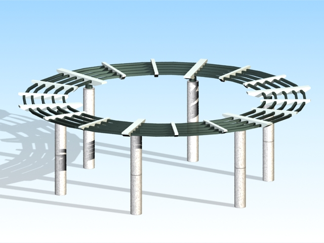 circular pergola design 3d model 3ds max files free download modeling 33351 on cadnav. Black Bedroom Furniture Sets. Home Design Ideas