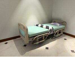 Wheeled hospital bed 3d model