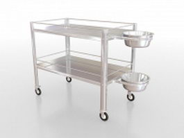 Stainless steel medical utility cart 3d model