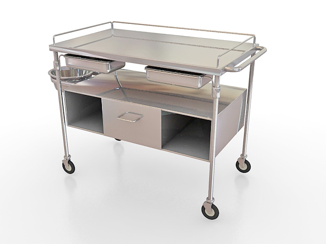 Stainless steel medical cart 3d rendering