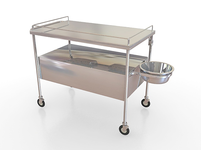 Stainless Steel Medical Cart 3d Model 3ds Max Files Free