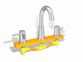 Two handle basin faucet 3d model